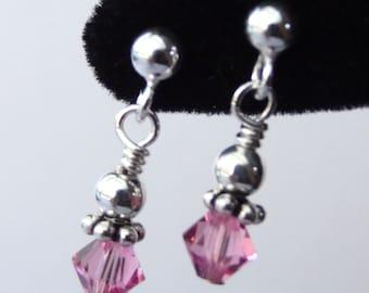 Sterling Silver Swarovski Crystal  Birthstone Children Earrings, Flower Girls Earrings, Post, Stud, Tiny