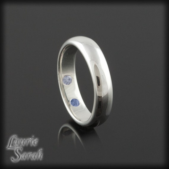 Hidden Bands: Wedding Band Mans White Gold Band With By LaurieSarahDesigns
