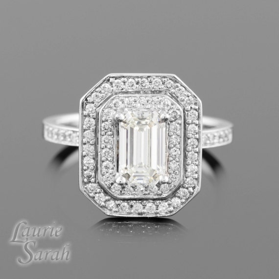 Engagement Ring, Emerald Cut Diamond Engagement Ring with double halo and Filigree Detail - LS1432