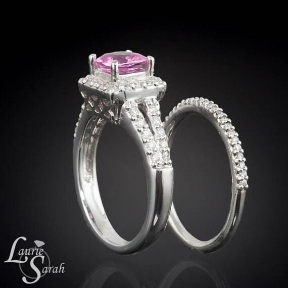 Pink Sapphire Diamond Halo Split Shank Wedding Ring Set - LS1918