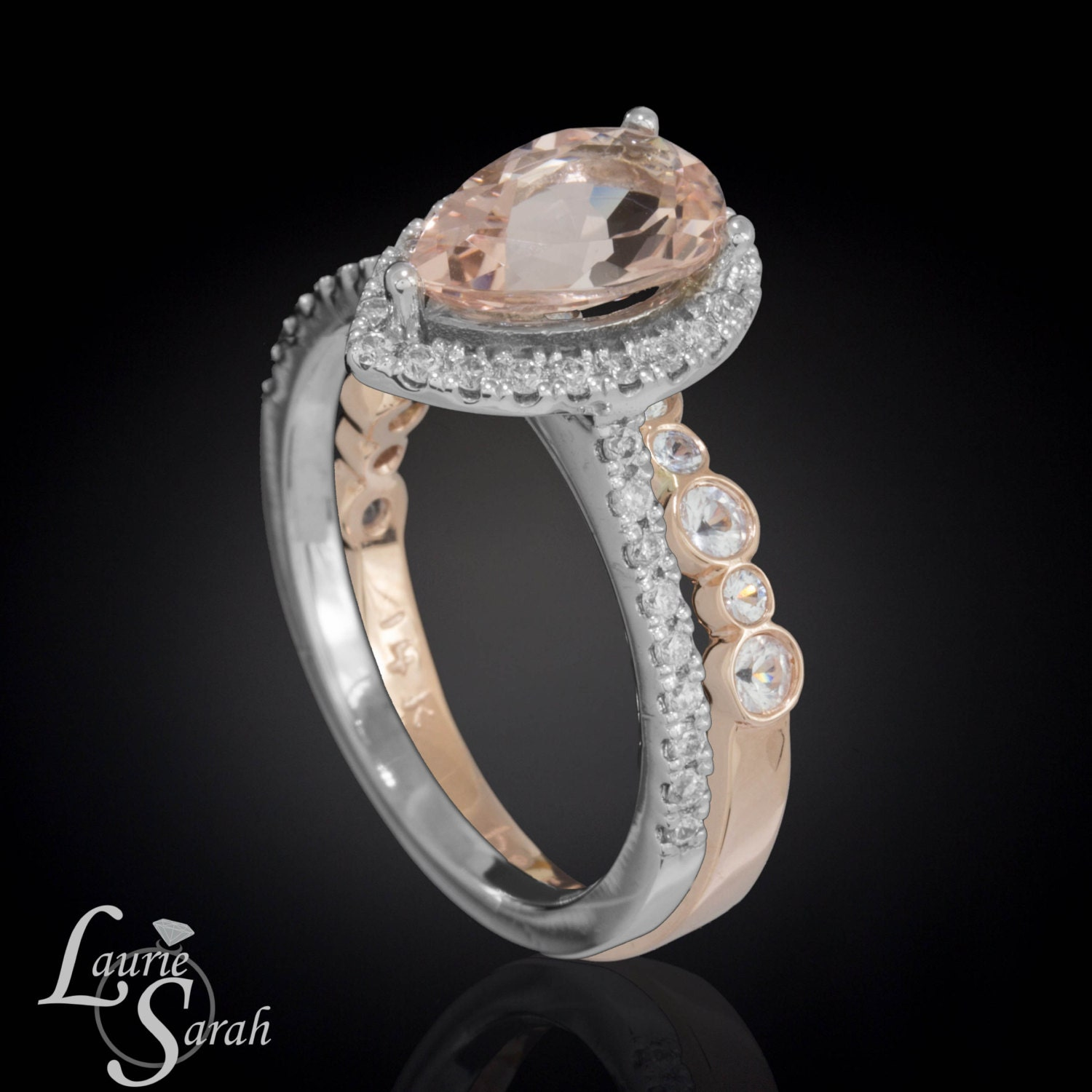 pear cut morganite ring morganite engagement ring bezel set. Black Bedroom Furniture Sets. Home Design Ideas