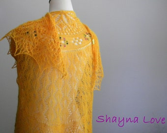 Golden Flowers - hand knit lace shawl - rainbow multi tourmaline beaded scarf - knitted angora silk wrap