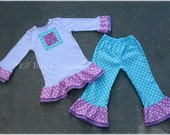 Abby Cadabby Tee and Pant Set Birthday Girl Teal Lavender and Pink