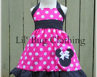 Custom Boutique Clothing Hot Pink and Black  Pin  Dot Minnie Mouse Halter Dress Disney Pink