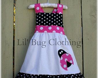 Custom Boutique Clothing  Lady Bug Hot Pink and Black Dot Dress