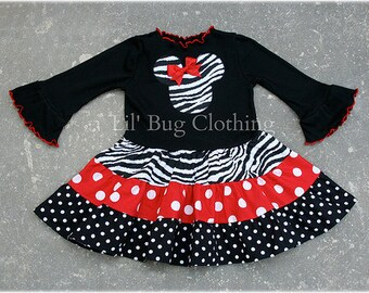 Custom Boutique Clothing Red Zebra and Dots Tiered Minnie Mouse Dress