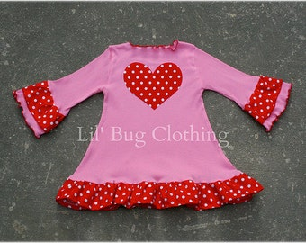 Valentines Polka Dot Pink Knit Heart Dress  Custom Boutique Clothing Girl 3m 6m 9m 12m 18 24 2t 3t 4t 5t 6t 7