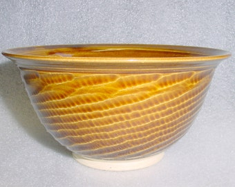 Wheel Thrown Pottery Bowl in Amber with Textured Exterior for Cereal Mixing or Serving
