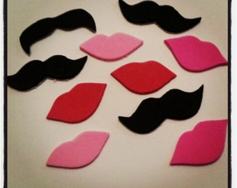 100 Pack Adhesive Foam Mustache and Lips Sticker Pack, Adhesive Mustaches, Moustache, Valentine's, Adhesive Moustache, Mustache Party Favors