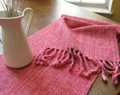 MADE TO ORDER HandWoven Table Runner Table Decor Pale Watermelon Pink Rose Cotton Hand Woven