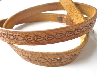 Handtooled Leather Belt Vintage Size S to M