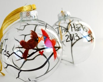 Love Birds In the Snow Glass Ornaments - 2 Personalized Hand Painted Christmas Ornaments