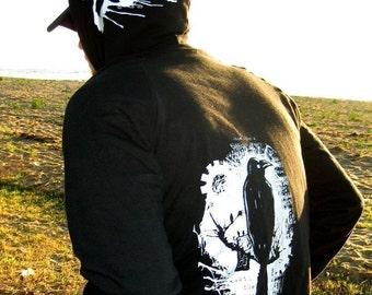 Nevermore Raven Hoodie - Edgar Allan Poe Bird Zip Hoodie in Black
