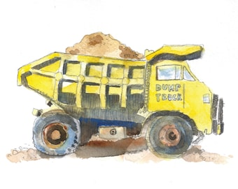 Cute Yellow Dump Truck #2 - Watercolor Print