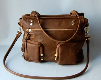 5 pocket Willow bag in praline brown - great ipad/small laptop bag