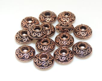 Solid Copper Bali Style Large Hole Rondelle  8mm x 12mm-- 2 Beads  Spacer Style Beads