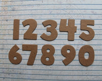 """Approx. 1 1/4""""h x 1"""" w BLOCK style chipboard numbers 0 to 9 a total of 10 pieces"""