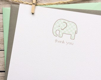 personalized baby shower thank you card gender neutral baby elephant, mint baby elephant baby shower thank you card, 16 elephant baby cards
