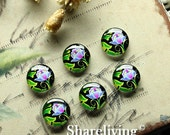 Glass Cabochon, 8mm 10mm 12mm 14mm 16mm 20mm 25mm 30mm Round Handmade photo glass Cabochons (Flowers)  -- BCH177L