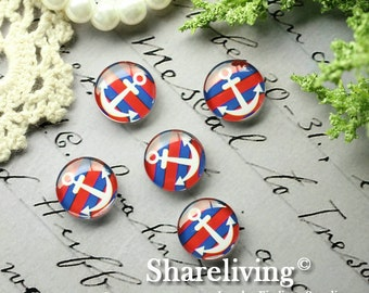 Glass Cabochon, 8mm 10mm 12mm 14mm 16mm 20mm 25mm 30mm Round Handmade photo glass Cabochons  (Anchor) -- BCH211N