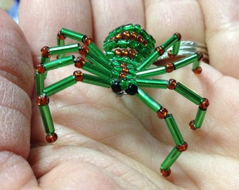Green and Brown Beaded Spider