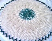 Medium Size- Kelly Green and Ecru Colored Hand Crocheted Round Doily 13-I have 3