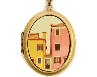 Photo Locket - C'mon Get Happy - Pastel Houses in Italy Photo Locket Necklace