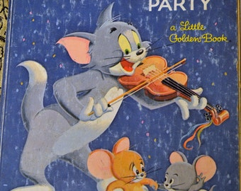Vintage Children's Book  Tom and Jerry's Party Little Golden Book Fifth Printing 1974