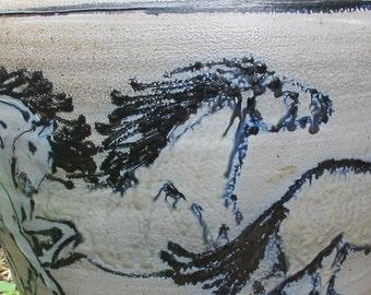 Floor vase with horses wood fired salt glazed art pottery