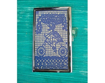 Day of the Dead business card holder retro Mexico card case ID vintage folk art kitsch