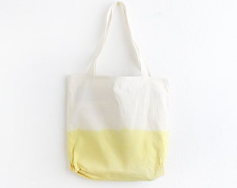 Yellow dip dye cotton tote
