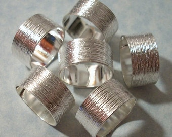 3 Silver Plated Brass Rings Brush Pattern Silver Ring Blanks