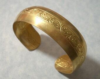 Unfinished Raw Brass Scroll Design Cuff Bracelet 19mm Wide