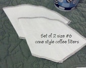 Set of two size no. 6 reusable cotton cone shaped coffee filters, 10 cup size cloth coffee filters, pour over coffee