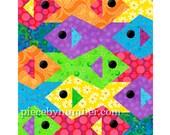 Tessellating Fish quilt pattern, paper pieced quilt patterns instant download PDF, tessellation quilt pattern, fish patterns animal patterns
