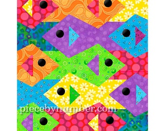 Tessellating Fish quilt pattern, paper pieced quilt patterns instant download PDF, tessellation quilt pattern, fish patterns animal patterns