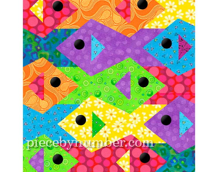 Tessellating Fish Quilt Pattern Paper Pieced Quilt Patterns