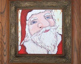 Santa Claus Art Painting - Christmas Holiday Original Framed Wall Decor - Ole St. Nick