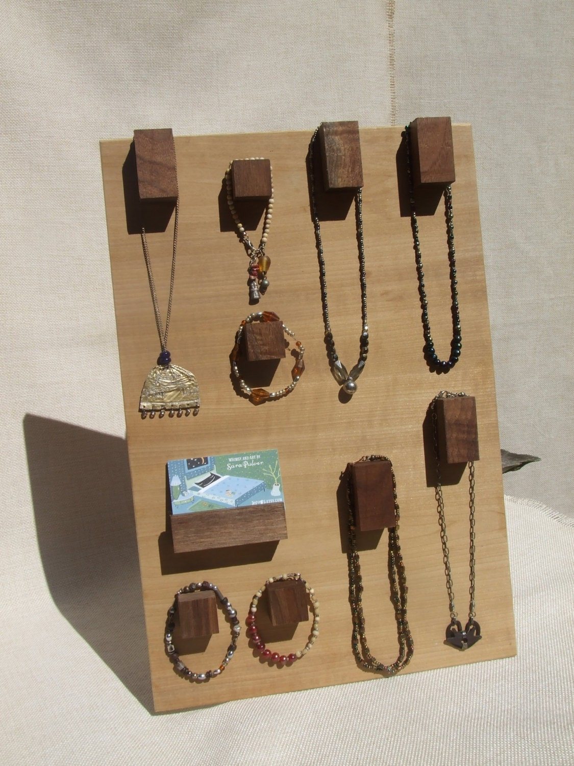 Raw wood jewelry display hanger modern hooks for necklaces for Jewelry displays
