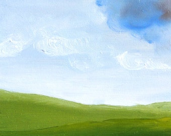 Original oil painting, landscape, clouds, folk art, primitive art, small 4 x 4, rolling hills.
