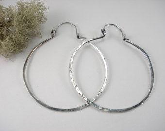 SALE, Sterling Silver Hoop Earring, BIG Hoop, Hammered, Heavy Gauge