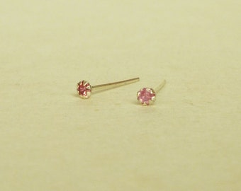 2 mm - Very Tiny Pink Rose Crystal Rhinestone Cartilage Ear Studs- 925 Sterling Silver Earrings - Cartilage Earring Second Hole Earrings