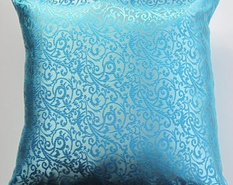 Turquoise Throw Pillow Cover - Satin Brocade Cushion Cover - 20 x 20