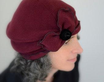 Ladies Polar Fleece Turban Hat - Flapper Style - Burgundy - Mata Hari