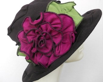 Ladies Spring Hat - Edwardian Travel Hat -  Organic Cotton and Hemp Jersey -Black with Pink rose - Mabel Rose
