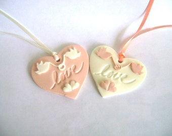 Wedding Favor Tags Magnets Clay Bridal Shower Tags Clay Heart Love Birds Tags Set of 10