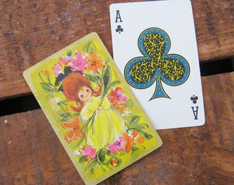 Vintage Flower Girl Playing Card Deck - Full Deck - Yellow Version