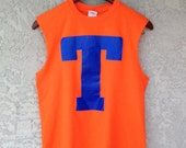 Muscle Tank Tee Orange and Blue T
