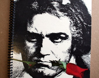 Beethoven Record Album Blank Notebook- Upcycled Journal, Sketch book