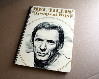 Mel Tillis Greatest Hits Record Album Blank Notebook- Upcycled Journal, Sketch book